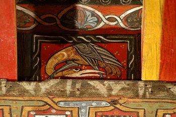 Detalle de pintura en alfarje. Pájaro, Huesca