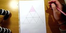 Chromatic triangle with colour pencils - Triángulo cromático con lápices de colores