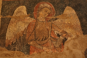 ángel músico tocando fídula, Huesca