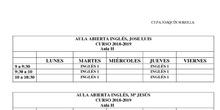 Horarios Aulas Abiertas Inglés 2018-19