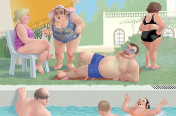 Bellezas al agua: Grupo de gordos en la piscina