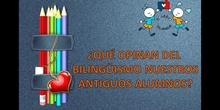 Opiniones antiguos alumnos y alumnas sobre su educación bilingue.