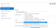 Agregar licencia a contenido aula virtual