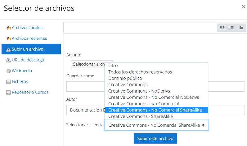 Agregar licencia al subir archivos al aula virtual