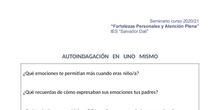 Autoindagación sobre mis emociones. Seminario Atención plena y Fortalezas personales. IES Salvador Dalí. Curso 2020-21