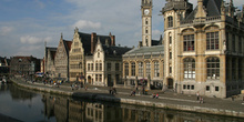 Vista general de Graslei, Gante, Bélgica