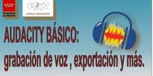 Audacity básico: descarga, test de micrófono, grabación de voz y exportación a mp3.