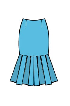 Falda con corte a tablas