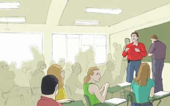 Exposición de alumnos en clase