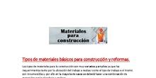 Tipos de materiales básicos para construcción y reformas