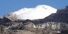 Vista de la cima del Pico de Orizaba (5750m) desde las faldas de
