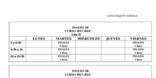 Horarios Inglés 2017/18