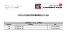 Libros de texto curso 2019-20