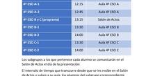 Horarios presentaciones curso 2020-21