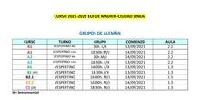 Nuevo horario 2021-2022 Ciudad Lineal