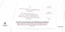 Entrega de los Diplomas de Reconocimiento Académico de la Universidad Complutense de Madrid 2019-20