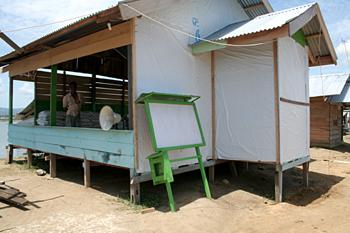 Mezquita donde se reparte ayuda, Campamento de pescado, Alunaga,