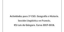 Actividades Geografía e Historia 1º ESO (Francés)
