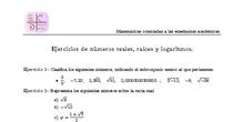 Ejercicios de números reales, radicales y logaritmos.