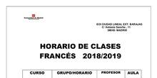 horario francés profesores 2018