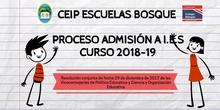 Proceso Admisión a Centros de Enseñanza Secundaria. CEIP Escuelas Bosque