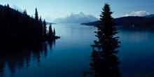 Río caudaloso en las Montañas Rocosas