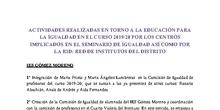 ACTIVIDADES REALIZADAS SOBRE IGUALDAD DE GÉNERO EN DISTINTOS CENTROS DEL DISTRITO SAN BLAS CANILLEJAS. CURSO 2019/20