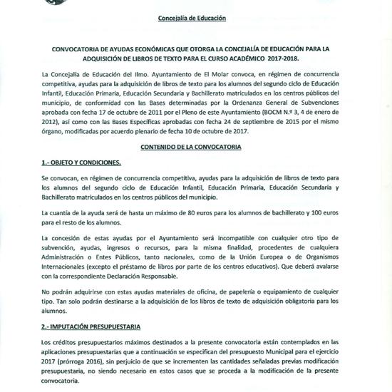 Convocatoria ayudas a libros. Ayuntamiento del Molar 6