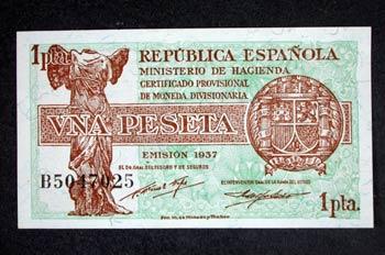Anverso de un billete de una peseta acuñado por el Ministerio de