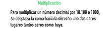 PRIMARIA - 6º - MULTIPLICAR Y DIVIDIR NÚMEROS DECIMALES POR LA UNIDAD SEGUIDA DE CEROS - MATEMÁTICAS