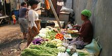 Puesto de verduras, Jakarta, Indonesia