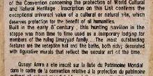 Documento de la Unesco sobre el castillo de Quseir Amra, Jordani