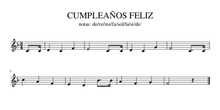 PARTITURA CUMPLEAÑOS FELIZ