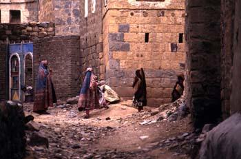 Grupo de mujeres en Shibam, Yemen