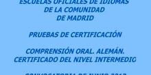 Certificado de Nivel Intermedio (B1). Alemán. Modelo A