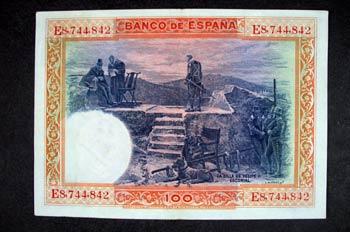 Reverso de un billete de cien pesetas acuñado por el Banco de Es