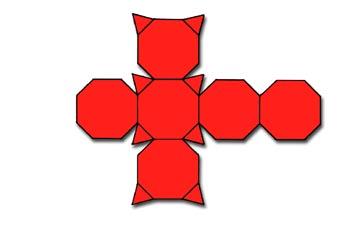 Desarrolo de un cubo de vértices truncados