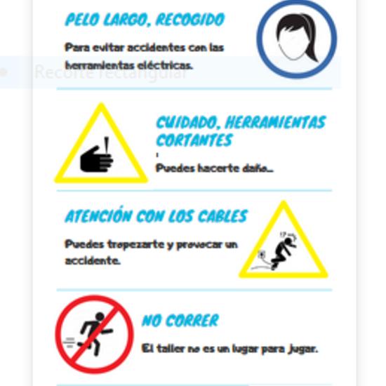 Infografía normas uso del taller de Tecnología