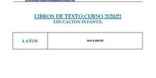 LIBROS DE TEXTO CURSO 20/21 EDUCACION INFANTIL 1º Y 2º DE PRIMARIA