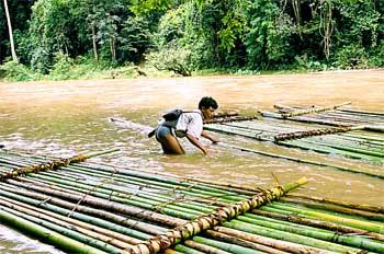 Construcción de balsas de bambú, Tailandia