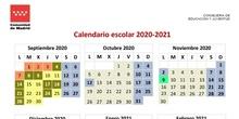 Calendario escolar Madrid 2020-2021