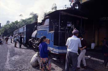 El Tren de Juguete en una parada, Darjeeling, India