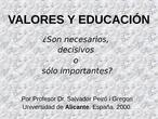 Valores y Educación