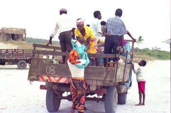 Transporte de personas en camioneta, Nacala, Mozambique