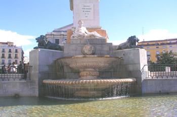 Detalle del monumento a Felipe IV en la plaza de Oriente, Madrid