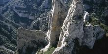 Alpinista en el Barranco de Mascún, Huesca