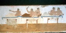 Escena de un banquete en Paestum, Italia