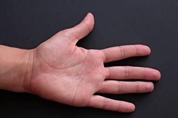 Palma de la mano extendida