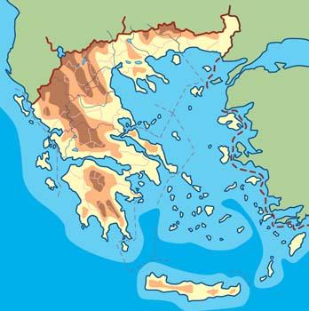 Mapa físico de Grecia