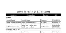 Libros de texto 2º Bachillerato